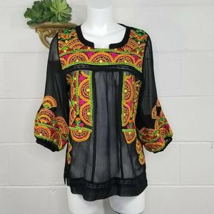 ANU Black Boho Sheer Embroidered Top Blouse Puff Sleeves Ethnic Sm